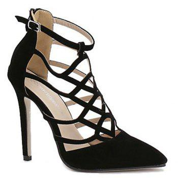 Trendy Hollow Out and Suede Design Women's Pumps - BLACK 39