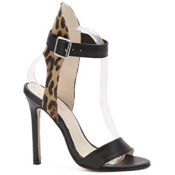 Trendy Stiletto Heel and Leopard Print Design Women's Sandals