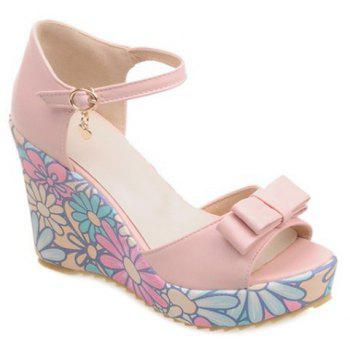 Ladylike Wedge Heel and Bow Design Women's Sandals