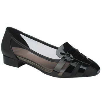 Simple Mesh and Black Color Design Women's Flat Shoes - BLACK BLACK