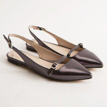 Fashionable Solid Colour and Double Buckle Design Women's Flat Shoes - GUN METAL GUN METAL