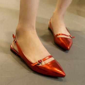 Fashionable Solid Colour and Double Buckle Design Women's Flat Shoes - RED RED