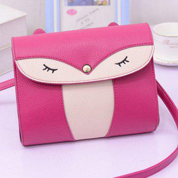 Leisure Cover and Color Block Design Women's Crossbody Bag - ROSE