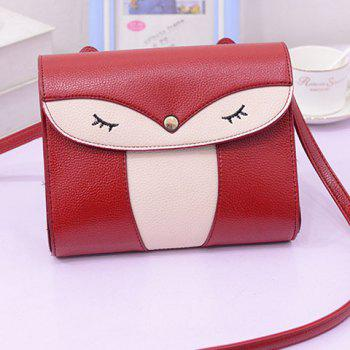 Leisure Cover and Color Block Design Women's Crossbody Bag - WINE RED