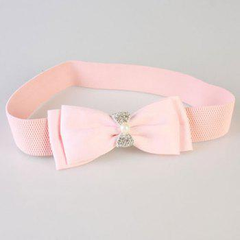 Elegant Rhinestones Faux Pearls Embellished Bows Elastic Waist Belt For Women