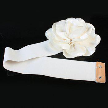 Chic Vivid Big Flower Shape Embellished Women's Elastic Waistband - WHITE