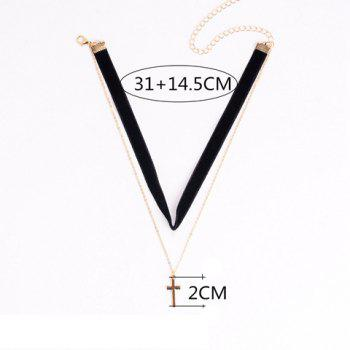 Small Cross Pendant Double Chokers Necklace - BLACK
