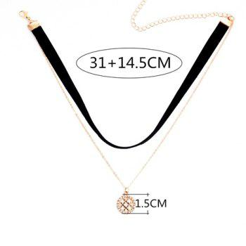 Rhinestone Hollow Out Round Pendant Double Chokers Necklace - BLACK