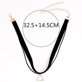 Hollow Triangle Pendant Double Chokers Necklace - BLACK