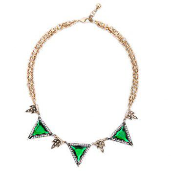 Chic Faux Gem Rhinestone Triangle Necklace For Women