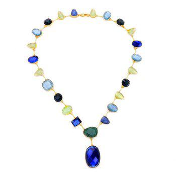 Chic Colored Faux Gem Water Drop Oval Necklace For Women