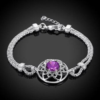Faux Amethyst Floral Hollow Out Bracelet
