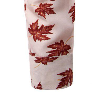 Maple Leaf Pattern Turn-Down Collar Long Sleeve Men's Shirt - RED L