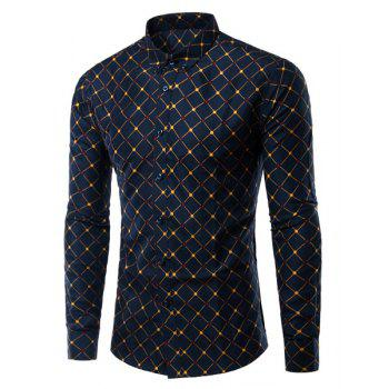 Argyle Pattern Turn-Down Collar Long Sleeve Men's Shirt