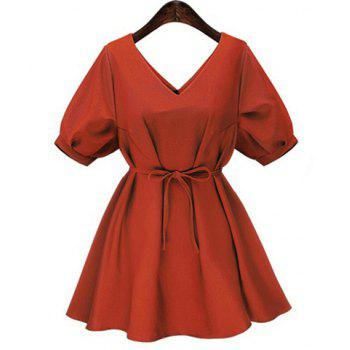 Fashionable Women's V-Neck Short Sleeve Pure Color Dress