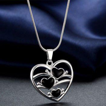 Hollow Out Heart Pendant Necklace - SILVER