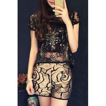 Chic Women's Round Collar Sequin Embellished Blouse and Loose Fitting Shorts