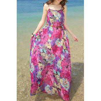 Spaghetti Strap Flower Print Dress For Women