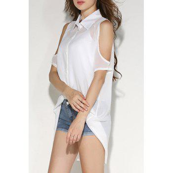Shirt Neck Cold Shoulder Chiffon Blouse with Tank Top - WHITE WHITE