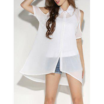 Shirt Neck Cold Shoulder Chiffon Blouse with Tank Top - WHITE L