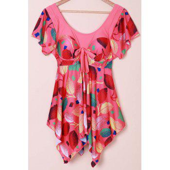 Chic Women's Scoop Neck Leaves Print Short Sleeve Swimsuit