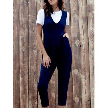 Chic Sleeveless Plunging Neck Solid Color Pocket Design Women's Jumpsuit