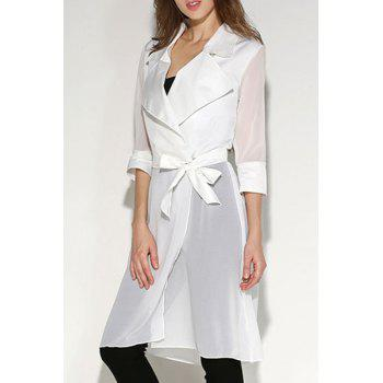 Buy Fashionable Women's Turn-Down Collar 3/4 Sleeve Solid Color Blouse WHITE
