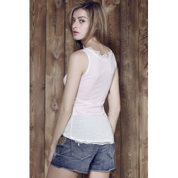 Attractive Low-Cut Lace Spliced Bodycon Tank Top For Women - WHITE M