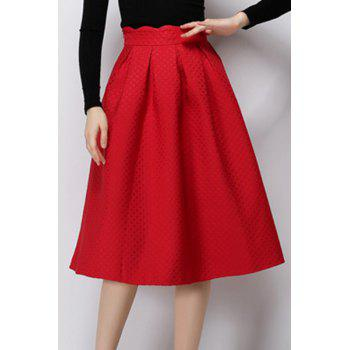 High Waist Solid Color Mid Calf Skirt For Women