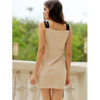 Sexy Sweetheart Neck Color Block Bodycon Women's Bandage Dress - L L