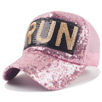 Chic Sequins and Big Letter Shape Embellished Women's Mesh Baseball Cap