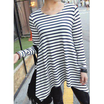 Stylish Round Neck Long Sleeve High-Low Hem Striped Women's T-Shirt