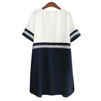 Casual Style Round Collar Short Sleeve Color Block Plus Size Women's Dress