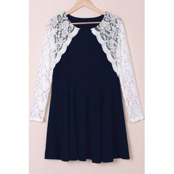 Stylish Round Collar Lace Splicing Plus Size Long Sleeve Women's Dress - DEEP BLUE 3XL