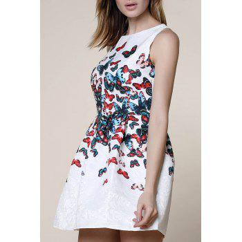 Sweet Round Neck Sleeveless Butterfly Print Women's Dress