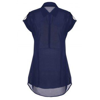 Turn Down Collar Short Sleeve Eqaulets Embellished Packet Buttock Dress - CADETBLUE CADETBLUE