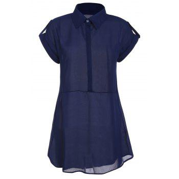 Turn Down Collar Short Sleeve Eqaulets Embellished Packet Buttock Dress