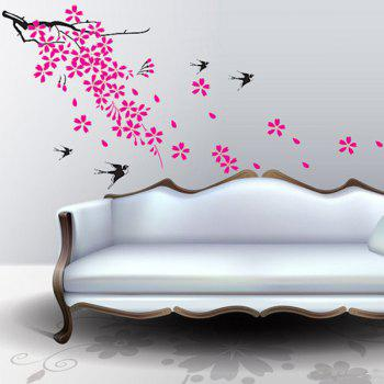 Stylish Swallow and Floral Pattern Wall Sticker For Bedroom Livingroom Decoration - COLORMIX