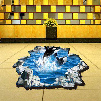 Stylish 3D Whale Pattern Wall Sticker For Bathroom Livingroom Floor Decoration - COLORMIX
