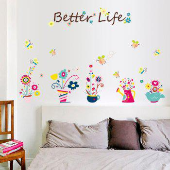 Stylish Cartoon Bee and Bonsai Pattern Wall Sticker For Bedroom Livingroom Decoration