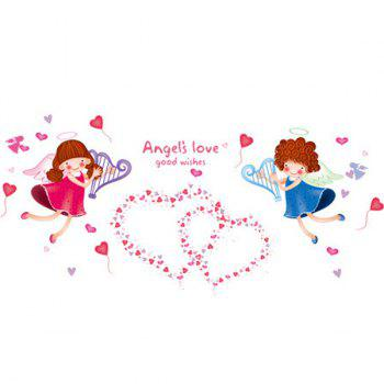 Stylish Sweet Heart Angle Pattern Wall Sticker For Bedroom Livingroom Decoration - COLORMIX