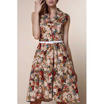 Retro Style Turn-Down Collar Sleeveless Floral Print Women's Ball Gown Dress