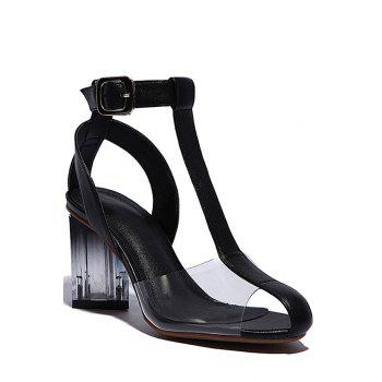 Stylish Transparent and Chunky Heel Design Sandals For Women