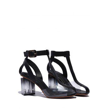 Stylish Transparent and Chunky Heel Design Sandals For Women - BLACK 39