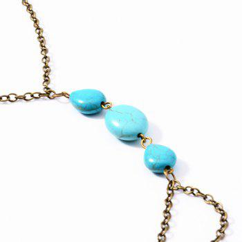 ONE PIECE Fantastic Retro Style Water Drop Shape Faux Turquoise Decorated Women's Anklet - COPPER COLOR
