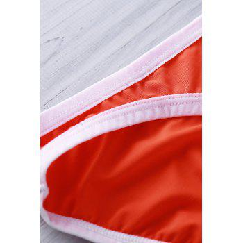 Sexy Color Block U Convex Pouch Design Men's Bikini Swimming Trunks - ORANGE ORANGE