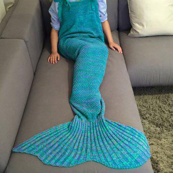 Chic Quality Comfortable Drawstring Style Knitted Mermaid Design Throw Blanket - LAKE BLUE LAKE BLUE