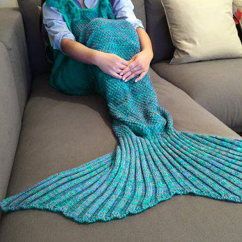 Chic Quality Comfortable Drawstring Style Knitted Mermaid Design Throw Blanket - LAKE BLUE