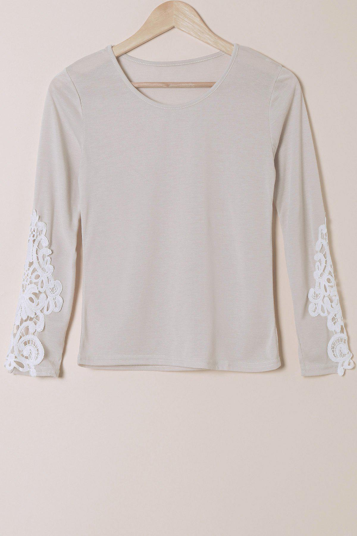 Stylish Scoop Neck Long Sleeve Slimming Hollow Out Women's T-Shirt - GRAY S
