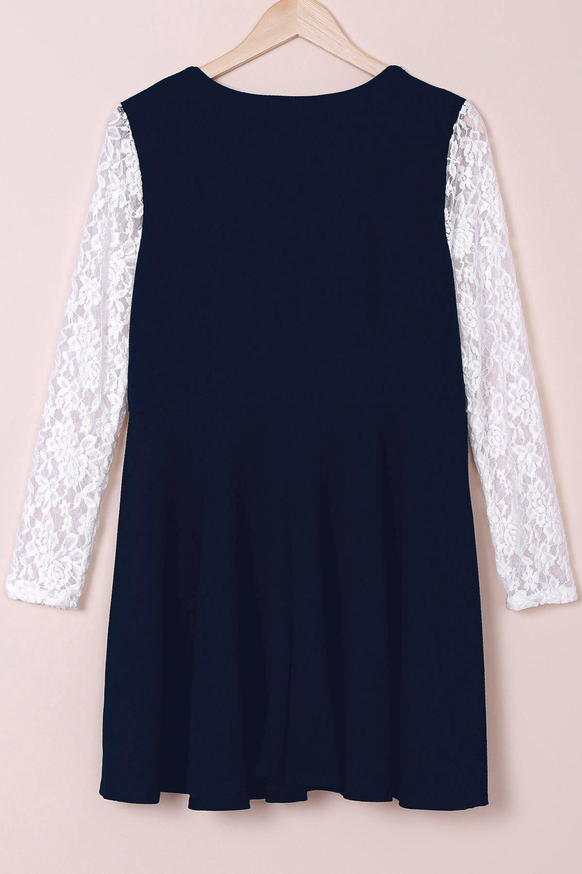 Stylish Round Collar Lace Splicing Plus Size Long Sleeve Women's Dress - DEEP BLUE XL
